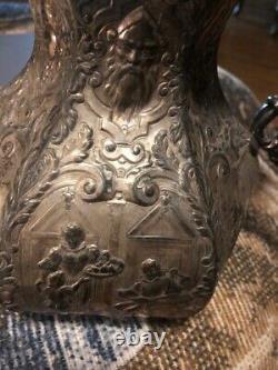 Ancien Pichet D'eau Repousse Plaqué Argent Du Xixe Siècle
