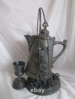 Anitque Pairpoint Quadruple Silver Plate Water Pitcher & Cup