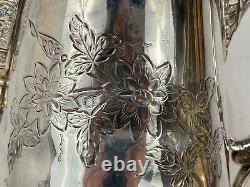 Ant Mermod Jaccard St. Louis Quadruple Plaque D'argent Pitcher D'eau Avec Floral Dec