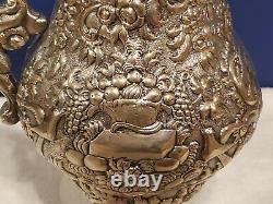 Antiquaire A. E. Warner Coin Argent Bouquet Floral 12-1 / 2 Pichet D'eau Rare