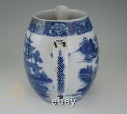 Antiquaire Chinois 18ème Siècle Export Pitcher D'eau Du Canton De Porcelaine