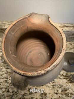 Antique 1850 Redware À La Main Sel Émaillé En Pierre Pitcher D'eau Jug LID Signé