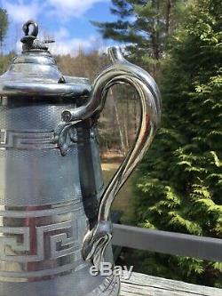 Antique 1858 Meriden Britannia Company Double Mur Pitcher Eau Swan Top