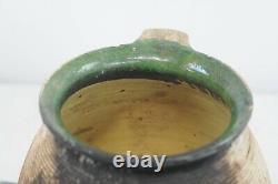 Antique 18th Century Terra Cotta Français Européen Pitcher Pitcher Oil Water Slip Glaz