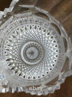 Antique American Brilliant Période Cristal Pitcher D'eau Jug Vase