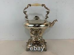 Antique Baker Bros. Art Nouveau Silver Plaque Tilting Water Kettle With Floral Dec
