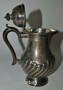 Antique Birmingham Angleterre Lait Argentier Lait Chaud Cruche Pot Baluster Forme