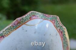 Antique Chinois Qing Dynastie Rose Mandarin Punch Jug / Water Pitcher 19th C