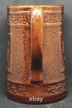 Antique Croix Gammée Bonne Chance Brown Stoneware Water Milk Jug Pitcher