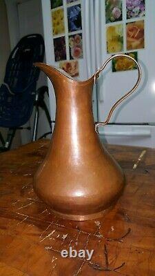 Antique Cuivre Pitcher De Jug Seam Dovetailed Circa 1850 Patine D'eau De Vin Européen