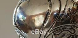 Antique En Argent Massif Eau / Claret Jug / Decanter. 575g Sheffield 1902