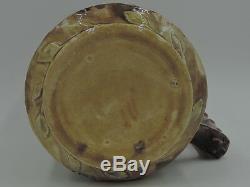 Antique Grand Pitcher Majolique Cornouiller Rose Eau Jug 1880
