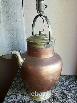 Antique Hammered Copper & Bronze Water Jug Pitcher Lamp Withshade Made In Italy