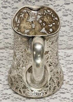 Antique La Pierre Sterling Superposer L'eau Pichet Vintage Motif De Raisin Tel Qu'il Est