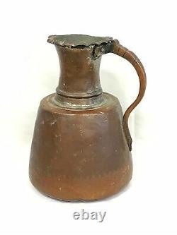 Antique Main De Cuivre Martelé Jug Water Pitcher Great Patina Primitive