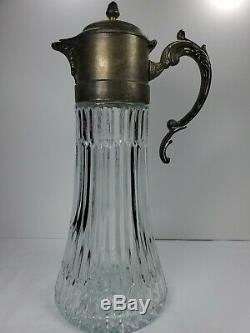 Antique Silver Italy Ep Zinc 14po Vin Claret / Pichet Eau À Patine