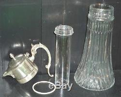 Antique Silver Italy Ep Zinc 14po Vin Claret / Pichet Eau Chaude Avec / Tube Froid