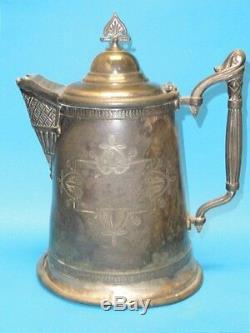 Antique Silver Ornate Meriden Plate Co. De L'eau Glacée Pitcher C. 1880