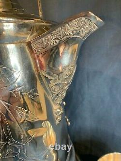 Antique Silver Plate Southington Tilting Pitcher Water Coffee Ornate 1890 C770
