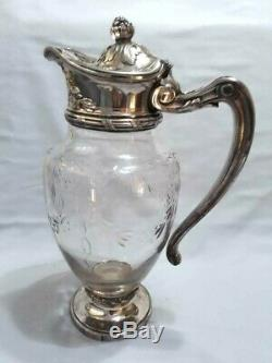 Antique Silverplate Christofle Gallia Poinçons Cristal Eau Pot Pitcher Jug
