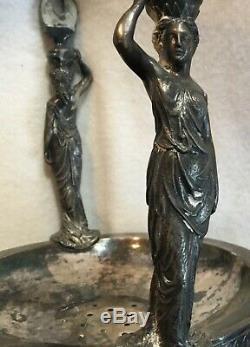 Antique Victorian Silverplate Reed & Barton Pichet Pleine Figural Maidens