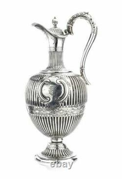 Antique Victorian Sterling Argent Claret Jug / Pichet D'eau Par Martin, Hall & Co