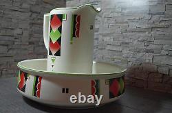 Art Déco 30's Pichet Bassin D'eau Bol Bol Géométrique Spritzdekor Conception Colorée