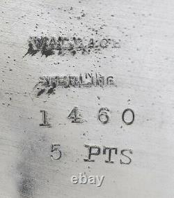Beau Vintage 1940s Wallace Sterling Argent Pitcher D'eau 5 Pintes