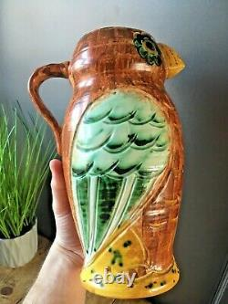 Beautiful Rare Hj Wood Ltd Pottery Owl Art Déco Water Jug Pitcher Vase Vintage