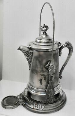 Belle Antiquité! Circa Années 1890 Slv Plate Wilcox Silver Co Tilt Water Pitcher +stand