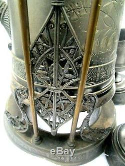 C. 1880 Antiquités Victorienne Esthétique Pairpoint Silverplate Tilt Coupes Pitcher Eau