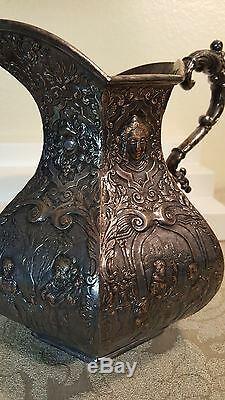 E. G Webster & Son Repoussé Figural 8 Cruche D'eau