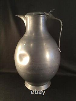 Énorme Antique Pewter Vin D'eau Ale Pitcher De Bière Ou Jug Or Flagon