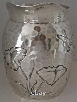 Esthétique Bug Chased Dragonfly Pond Sterling Water Pitchcher Dominick Haff 1881