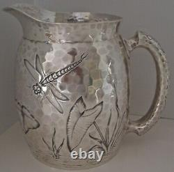 Esthétique Chased Bug Dragonfly Pond Sterling Water Pitcher Dominick Haff 1881