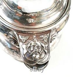Fabuleux George Eakins Silverplated Glace Pichet Sirène Poignée Et Masques