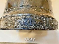 Fabulous Antique Tilt Argent Plaque Pitcher Eau Sur Stand 1880 Southington & Co