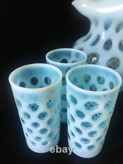 Fenton Blue Coin Dot Ensemble D'eau Opalescente De 7 Pièces Avec Grand Coffre À Lèvres De Glace