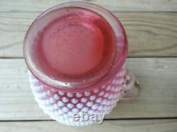 Fenton Cranberry Opalescent Hobnail Tankard Pitcher / Tall Water Jug Rare