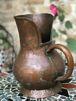 Français Vintage Copper Water Jug Pitcher Grande Belle Main Faite