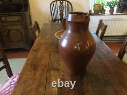 Grand 19ème Siècle Stoneware Pitcher Eau Jug Vase Baie Vitrée Énorme Bien