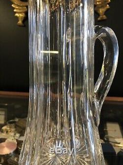 Grand Antique Cannelée Cristal Et Sterling Pichet 10,75 X 4,75