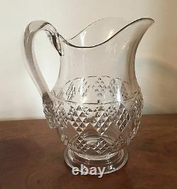 Grand Antique Eapg Glass Water Pitcher Milk Jug American Diamond Pattern 19th C