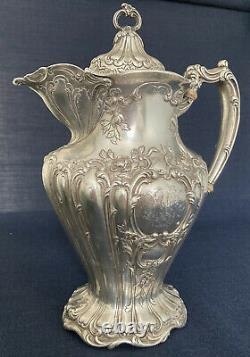 Grand Lidded Gorham Sterling Silver Chantilly Water Pitcher 1906