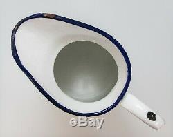 Grand Pitcher 17,5 Antique Français Blanc Enamelware Eau Jug Ferme Pays