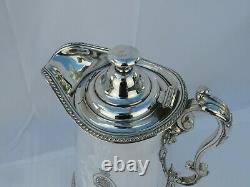 Grande Cruche Antique D'eau De Plaque D'argent Elkington 1861 Couronne Et Ordre De La Jarretière