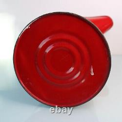 Grande Cruche Antique Hollandaise De Pichet D'eau D'émail Rouge