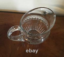 Grande Cruche De Lait De Pichet D'eau Cristalline Antique Anglo-irlandaise De Verre Coupé