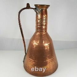 Grande Cruche Rustique Antique D'eau De Cuivre / Pichet 50cm De Haut