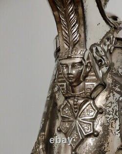 Grande Plaque Antique Victorienne Égyptienne D'argent D'argent Inclinant Le Pichet D'eau +tasse